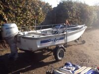 "Dell Quay Dory, 13'6"" (4.1m) with Honda 30hp four stroke motor and trailer"