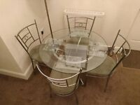 Glass Top Small Dining Room Table & 4 Chairs