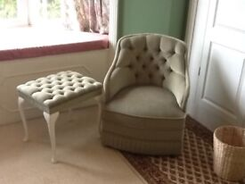Bedroom chair and vanity stool green velour