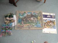 "Tapestry Kit - Country Cottage, 19""x15"" Complete with yarn & frame, virtually unused."