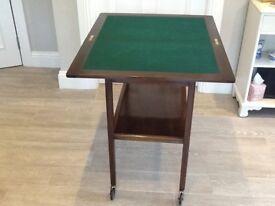 mahogany trolley/green baize card table