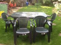 Green garden furniture