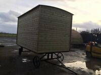 Shepherds hut , garden room , rent out bedroom , steel chassis , movable.