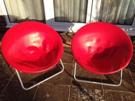 Two Folding Red Moon Chairs (indoor, Adult-size)