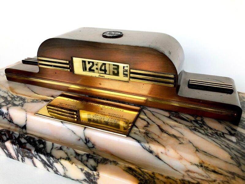 Lawson Art Deco Electric Clock New Yorker Model 490 940 Custom Marble Base WORKS