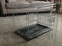 RAC metal fold flat dog crate with plastic tray