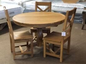 Ex-display Solid oak round extendable table and 3 chairs