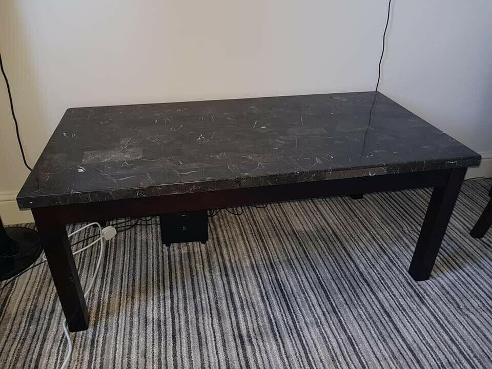 Solid Black Marble Effect Mdf Coffee Table W Wooden Legs H 49cm W 60cm L 120cm In Greenwich London Gumtree