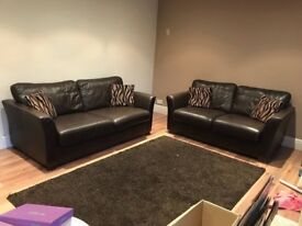 Brown Leather DFS Sofas for sale