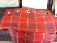 Next 66 in x 72 in fully lined red check curtains excellent condition £20. Plus accessories as shown