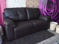 New Brown Real Leather 3 Seater Sofa Delivery Available