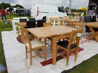 Oak and Veneer dining table + 4 Chairs