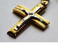 Unique Solid 14K Yellow and White Gold Cross Necklace Pendant for Men, Gold Cross for man