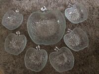 7 X Apple shaped Glass fruit bowls