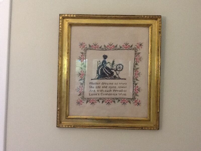 Antique Vintage Sampler Framed ~ Embroidery Needlework Sewing NICE!