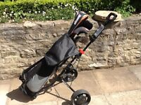 Full set of clubs, bag and trolley