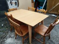 large extending dining table and 6 pine chairs - free delivery