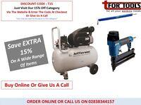 JEFFERSON 110v 50L AIR Compressor 110v 2HP + Air Nailer Stapler & 7.5m Hose