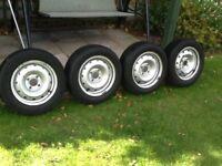 4 part worn Michelin tyres on 14 inch steel rims