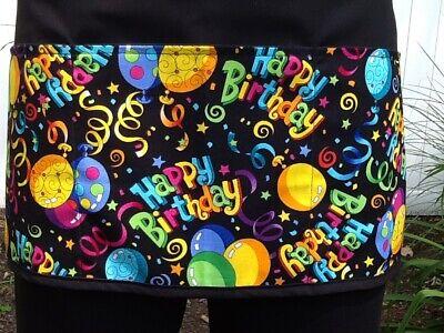 Happy Birthday 3 Pockets Waitress Server Black Half Waist Apron Restaurant