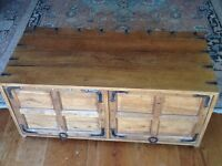 LOVELY OLD CHEST/CABINET WITH RETRACTABLE DOORS