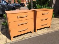 Two x 3-drawer beech effect drawer units