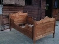 Antique pine sleigh bed,