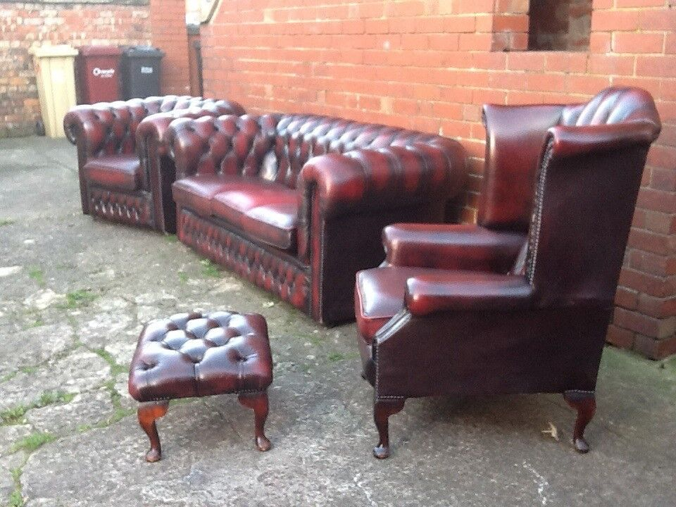 Oxblood Red Leather Chesterfield Suite 4 Piece Set 3
