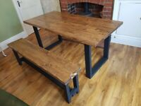Handmade New Farmhouse Handmade Reclaimed Dining Table and Bench 160cm x 88cm Free Delivery