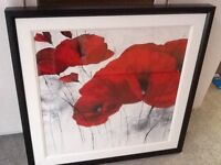 Framed painting from Fultons Belfast 86 x86cm Poppy scene