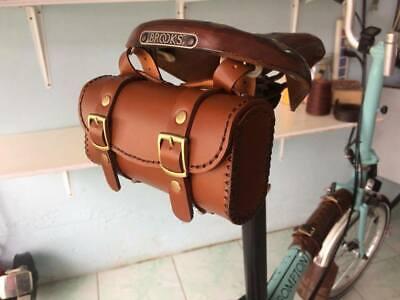 74ac756de95 Leather bicycle saddle bag HANDMADE for Brompton ,Brooks,Vintage (ฺBrown  Tan)