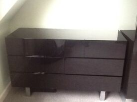 High gloss black bedroom furniture, Two Wardrobes, Six drawer unit, One bedside table.
