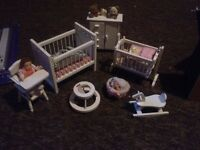 1:12th Scale 7 Piece White Nursery Set Dolls House Miniature Bedroom