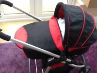 I Candy Pram + Moses Basket System & Maxi Cosi Carry Seat, with parasol and two cosy toe inserts.