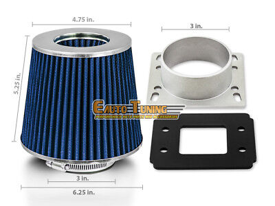 AIR INTAKE MAF Adapter + BLUE FILTER For 95-04 Toyota Tacoma 2.4 2.7