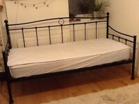 Black Metal Day Bed Frame, Silentnight Luxury Mattress & John Lewis Reversible Mattress Protector