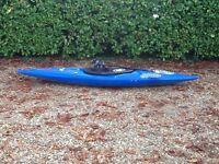 pyranha kayak with paddle, splashdeck and flotation bags