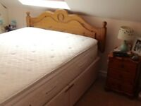 Used King size divan bed + pine headboard + mattress