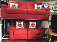 Red fabric 3+2 seater sofa in very good condition