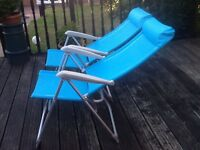 Two chairs folding lightweight garden /camping chairs high back
