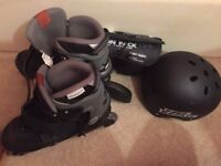 Roller Blades, Knee & Elbow Pads & Safety Helmet