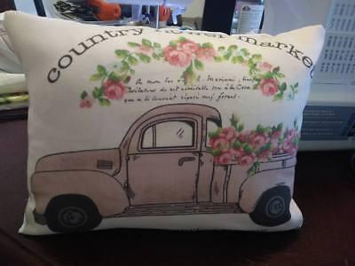 pink Farm truck Pillow farmtruck vintage flea market ford shabby rose antique  Antique Rose Farm
