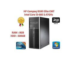 HP Compaq 8100 Elite CMT Intel Core i5-660 ,8GB, 500GB GAMING PC HP AND DELL LCD ALSO AVAILABLE