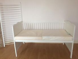 Nearly new cot with Firm Memory Form Mattress
