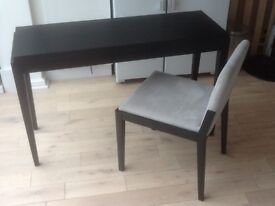 Solid Wood Makeup Table and Chair Black