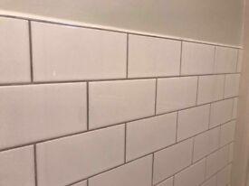 White Ceramic Gloss Tiles and adhesive