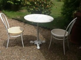 PATIO BISTRO SET MARBLE TOP TABLE + 2 METAL CHAIRS