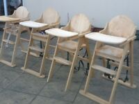 Solid wood highchairs by East Coast very well made good used condition-have 3 left at £30 each