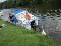 Boat for sale, 23ft Inland cruiser, sleeps 4, 15HP reliable outboard motor, moored near Reading