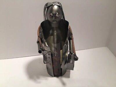 Wine Bottle Holder Sculpture H K Steel Doctor Female Collectible 2 pcs Caddy